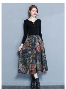 Large size cross-border foreign trade new 2019 printed woolen skirt female big swing skirt