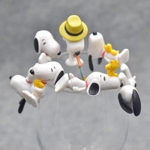 7pcs / set regalo Peanuts Charlie Brown Cup bordo figura modello bambole bambini amico del regalo di compleanno Matrimonio Natale Capodanno per ospiti