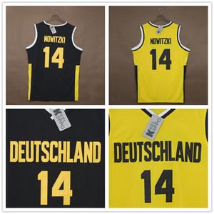 Camisetas personalizadas de baloncesto para hombre Dirk # 14 Nowitzki Team Deutschland Alemania Baloncesto amarillo negro bordado usa cosido tamaño XXS-6XL