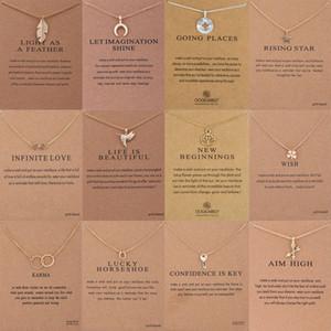 Nova Moda Jóias Gargantilhas Gargantilhas Colares Com o Cartão de Ouro Banhado A Ouro Ferradura Chave Pássaro Seta Pingente de Colar Para As Mulheres Presentes