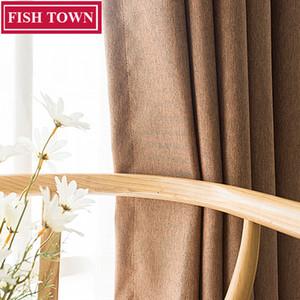 PESCADO DE LA PESCA Faux Linen Color Sólido Blackout Cortina Tratamiento de la ventana Cortinas Ruido que bloquea las cortinas Persianas para el dormitorio Sala de estar