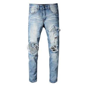 New Designer Mens Jeans Distressed Ripped Biker Luxury Jeans Slim Fit Motorcycle Biker Denim Jeans Fashion Brand Pants B100802K