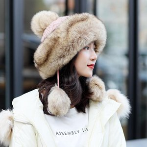 Fashion-new women's hat winter beanie knitted hat Angola Rabbit fur Bonnet girl 's hat faale cap with fur pom pom