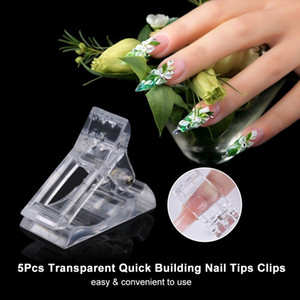 5Pcs Nail Tips Clip Transparent Finger Poly Quick Building Gel Extension Nails Art Manicure Tool Clips de uñas falsas