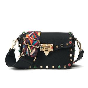 Nuevos hombro de lujo Bolsas Retro Remaches PU colorida del diseñador de las rayas de la correa de la bolsa de mensajero bolsos embrague pequeño bolso de Crossbody Bolsas