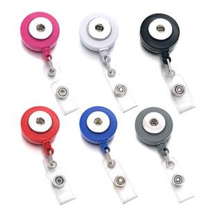 Venta caliente Fit 18mm Snap Button 301 Retractable Pull Badge ID de carrete Lanyard Nombre Tarjeta de identificación Badge Holder Carretes Llavero Clip de cadena Collar