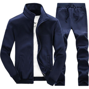 Mens Solid Tracksuits Casual Sets Slim Fit Outwear Jackets Pants 2 Piece Sets Male New Sport Suits