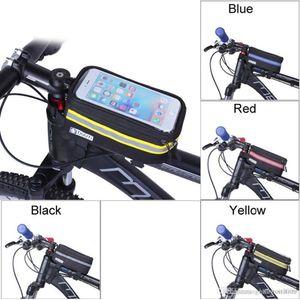 Panniers à prova d 'água do ciclismo quadro bolsas frontais do tubo para o caso do suporte do telefone celular para a tela de toque da bicicleta MTB HXL