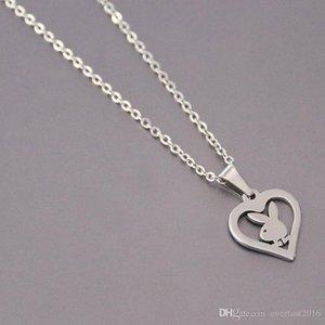 Оптовая продажа 10 шт./лот маленький кролик нержавеющая сталь пользовательские ожерелье Кролик сердце подвески ожерелья женщины дети мода минималистский ювелирные изделия SN149