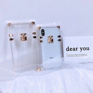 Clear Case Square para iphone 11 Pro Max X XS MAX XR 8/7 6 6s Mais de Casos de telefone de luxo transparentes tampa traseira