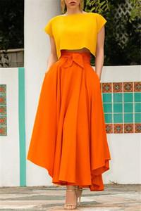 Bayanlar Katı Big Etekler Takviyesiz Saf Renk Kasetli Kadınlar Asimetrik Etekler Moda Kadın A Hattı Etekler