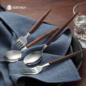Mango WORTHBUY Cena Tenedor Cuchara de acero inoxidable 304 Postre de la fruta Tenedor cuchara de sopa con el plástico Picks Accesorios de Cocina