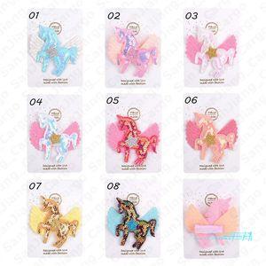 8 Colors Girls Cartoon Unicorn Glitter Hair Clips Bow Hairpin Colorful Barrettes Girl Hair Accessories Sequins Rainbow Kids Hair Grip E5406