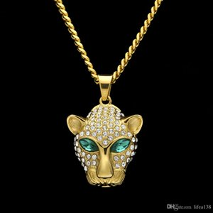 Мужчины хип-хоп обледенел Шику леопарда 5 см кулон ожерелья CZ три Циркон животных форма мужчины хип-хоп ювелирные изделия