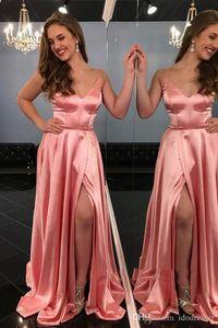 Seksi Ucuz Bir Çizgi Gelinlik Modelleri Spagetti Sapanlar V Boyun Yüksek Yan Bölünmüş Pleats Örgün Elbise Abiye giyim Vestidos de Noiva Ogstuff