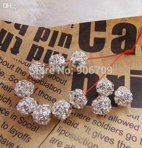 Оптовая свободная перевозка груза Shamballa шариков прокладки 8 мм белый кристалл стекло ремесленных шаровидные бусы, Посеребренная Pave Rhinestone шарики