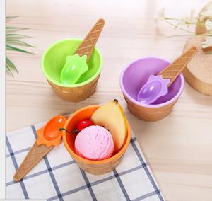2019hot enfants crème glacée bols de crème glacée Couples Coupe Bowl Cadeaux Dessert Ledpoint avec une cuillère meilleure offre enfants cadeau