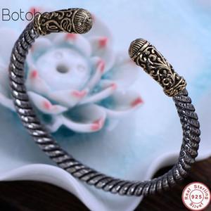 Nuevo Real Solid 925 Sterling Silver Retro Twist Rope Bangle para hombres mujeres Vintage talla de flores con el ojo de Dios pulsera de apertura