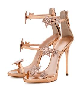las mujeres del diseñador de moda de lujo calientes Venta-Nuevo atractivo de la boda de novia de tacones altos de las sandalias del dedo del pie en punta de oro Rose Rhinestone Partido Prom Los tacones altos