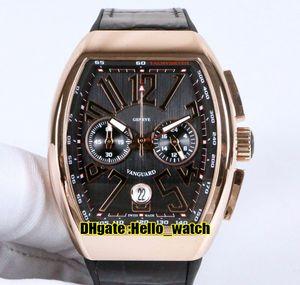 الرجال جمع جديد الطليعة روز حالة الذهب V45 CC DT NR BR الأسود الهاتفي ميوتا كوارتز كرونوغراف للرجال ووتش ساعة توقيت حزام من الجلد الساعات