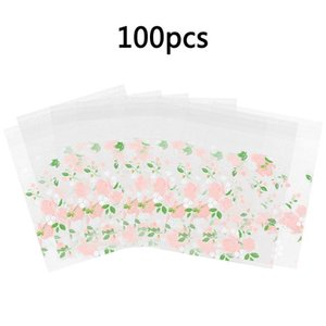 100X Self Seal Adhesive Rose Flower Plastic Cellophane Cookies Candy Gift Bag BE