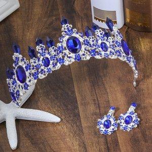KMVEXO 2018 Novo Acessórios Do Cabelo Do Casamento Verde Azul De Cristal Pageant Pageant Tiaras De Luxo Grande Strass Coroas Diadema Para A Noiva D19011005