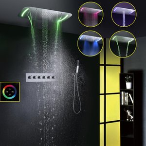 Thermostatic Shower Faucet Set Modern European Style Large Touch Panel LED Ceiling Shower Head Waterfall Rainfall Bathroom Shower