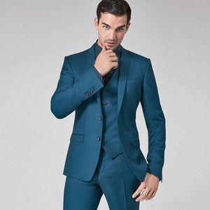 Latest Costume Mens Suits Slim Fit Groomsmen Wedding Tuxedos Groom Suit Peaked Lapel Formal Blazers 3 Pieces Jacket Vest Pants