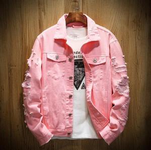 New Designer Denim Jacket Men Sweatshirts Ripped Holes hip hop coat women Pink Jean Jackets New Brand Garment Washed Mens Denim surcoat