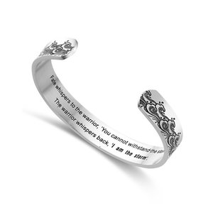 10mm I Am The Storm Wide Cuff Bracelet Bangle for Women Stainless Steel Gift for Friend Mantra Bracelet Inspirational Spindrift