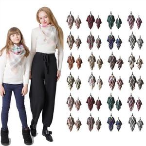 A cuadros Pashmina bufanda de la manera entre padres e hijos Los niños de gran tamaño del tartán del mantón del abrigo al aire libre de la borla de triángulo bufandas Marca C1510 caliente Manta