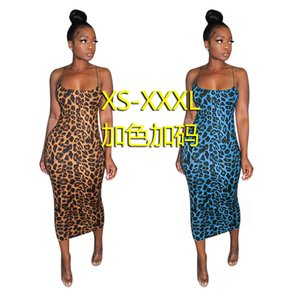 S3631 Suit-dress Hollow Out Sexy Camisole Leopard Print Printing Dress Temperament A Step Skirt Woman