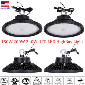 DLC 1-10V Dimmable UFO LED High Bay Light 100W 150W 200W 240W Светодиодные светодиодные светильники IP65 Mining HighBay Lamp Street Work Shop