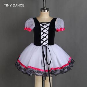 Ballet Ballet Dance Tutu Black Velvet Bodice with Ribbon Trim in The Front Ballerina Dress Girls Ballet Tutus 20019