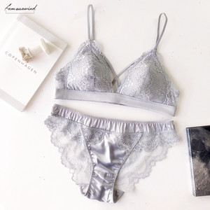 Cotton Thin Women Lingerie Sexy Embroidery Lace Underwear Sets High Quality Bra Set 3 4 Cup Sexy Intimates Bra Brief Set