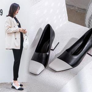 Pop2019 Rechtschreibung mit Farbe echtes Leder Einzel Schuh Frau Anmut Beitrag Markt Bequeme Temperament Damenschuhe Spezielle Zähler