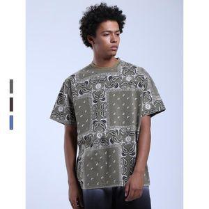 Мужская мода HipHop Лето Бандана Футболка Streetwear Paisley топ тройники