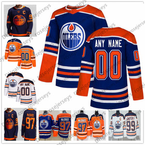 Custom Edmonton Oilers 2019 Cualquier nombre Nombre # 97 McDavid 18 James Neal 41 Mike Smith Gretzky Draisaitl Larsson Blue White Navy Tercer Jersey