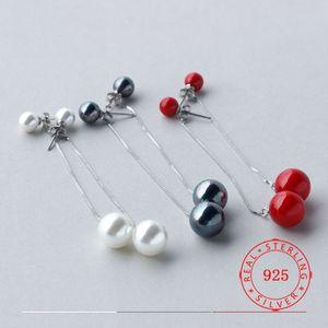 Moda por atacado Pure 925 Sterling Silver Earrings for Women Delicate Black Pearl Brinco Red Jewellry China fornecedores de jóias