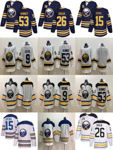 Buffalo Sabres Jerseys Golden 50th Season Third 9 Jack Eichel 26 Rasmus Dahlin 53 Jeff Skinner 15 Jack Eichel White Classic Hockey Jerseys