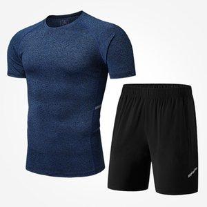 Mens Yoga Sets Men Casual Two Pieces Suit Breathable Shirts + Shorts Pants Fashion Mens Thin Sports Tracksuits 4 Colors Size M-4XL