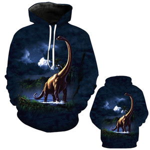 Abbigliamento da uomo autunno e inverno 3D Dinosaur Digital Printing Hooded Pocket Felpa Casual Mens Designer Hoodies Moda felpa con cappuccio