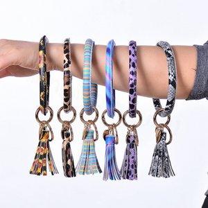 35styles PU porte-clé bracelet en cuir avec pendentif sac pompon coeur imprimé des articles de fête keyholder cercle Wristlet faveur FFA4145-8