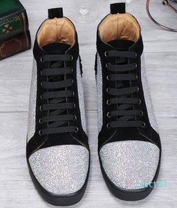 drop shipping new casual High Quality high Top Sneakers Rhinestone Leather Casual Walking ,Men high top Casaul Walking Red Bottom Shoe 1ct