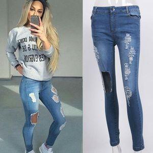 Goocheer Loch zerrissene Jeans-Frauen-Hosen Kühle Denim-Weinlese gerade Jeans für Mädchen mit hoher Taille beiläufige Hosen weibliche dünne Jeans