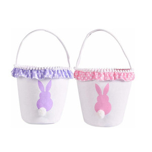 13styles Easter Basket Canvas Rabbit Buckets Lace Easter Bunny Bags Baskets Kids Candy Tote Handbags Egg Hunt Storage Bag BY Sea GGA3194