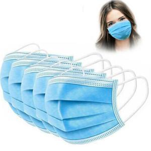 DHL Prêt à l'expédition! 100X à usage unique Masques Visage 3PLI Hygiène Masque anti-poussière avec un masque élastique boucle poussière bouche protection