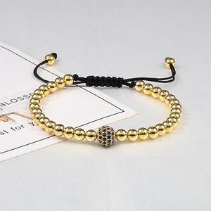 Handmade Women Men Bracelet Rose Gold Micro Pave CZ Ball Beads Braided Wrap Bracelets Bangles Adjustable Rope Charm Jewelry Gift