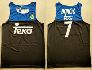 لوكا دونسيتش # 7 ريال مدريد سلوفينيا الدوري الاوروبي الأسود ريترو كرة السلة جيرسي رجال مخيط مخصص أي عدد اسم الفانيلة