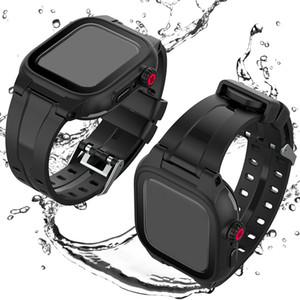 الرياضة Watchands مع شاشة حامي غطاء مقاوم للماء لأبل ووتش حالة سلسلة 5 4 3 مع الشريط سيليكون باند لiWatch 44mm و42MM الأسود